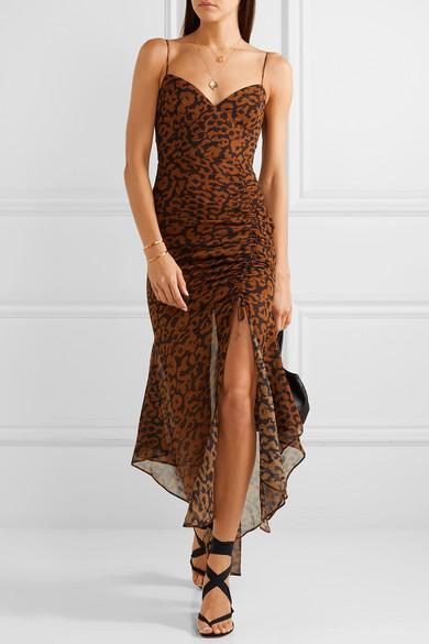 f716012f57e0 Nicholas Ruched Leopard-Print Silk-Chiffon Dress In Leopard Print ...