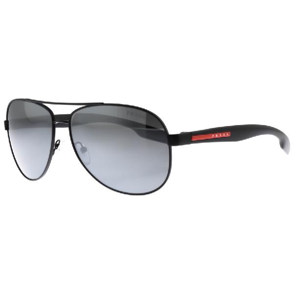 d8471c43610 Prada Linea Rossa Aviator Sunglasses Black In Black Green Mirror ...