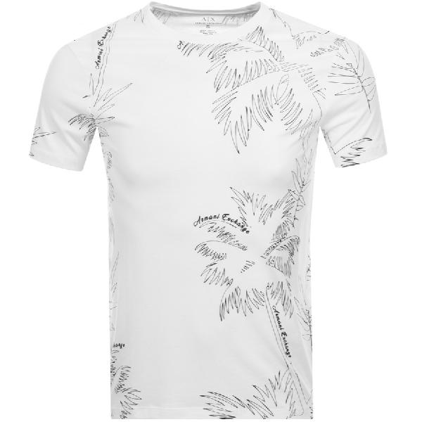 012c669114d1 Armani Exchange Palm Print T Shirt White