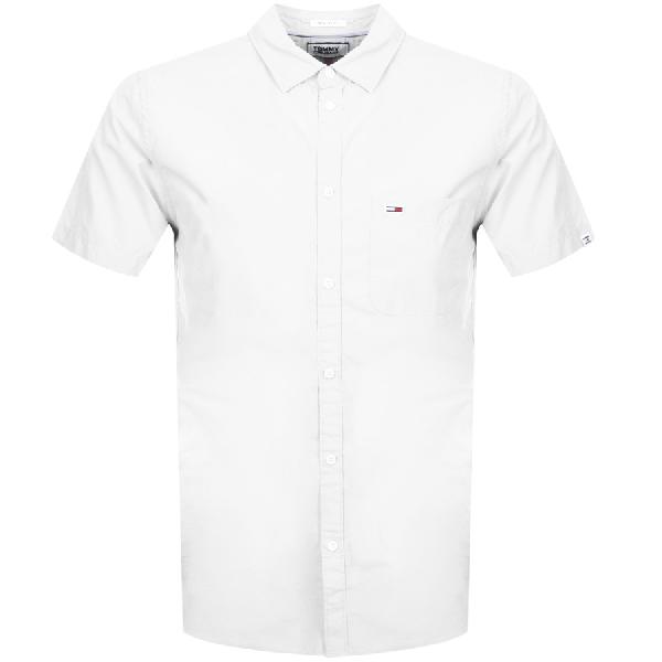 9d9cfcfdd Tommy Jeans Short Sleeved Poplin Shirt White | ModeSens