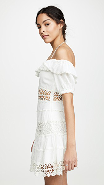 6830e3867e9 Free People Cruel Intention Cold-Shoulder Lace-Panelled Mini Dress In Ivory
