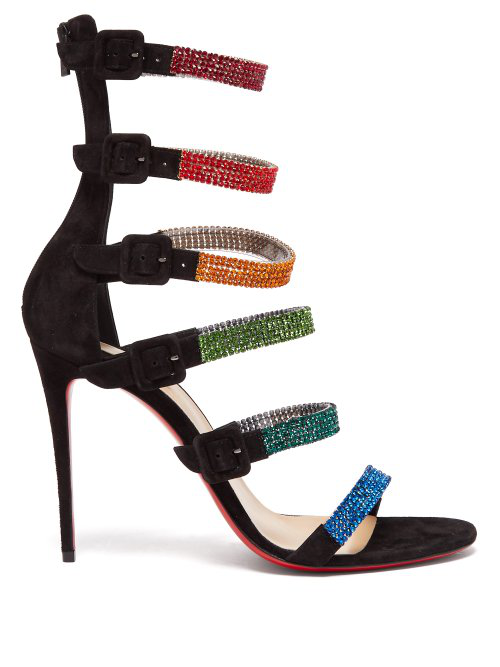 cheap for discount 69956 05ec0 CHRISTIAN LOUBOUTIN - RAYNIBO 100 CRYSTAL EMBELLISHED SUEDE SANDALS -  WOMENS - BLACK MULTI