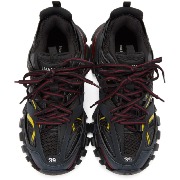 Balenciaga Men's Mixed-Media Leather Track Sneakers In Black