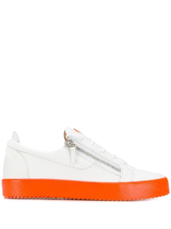 9fae6882dae28 Giuseppe Zanotti Men's Neon-Sole Double-Zip Low-Top Sneakers In White