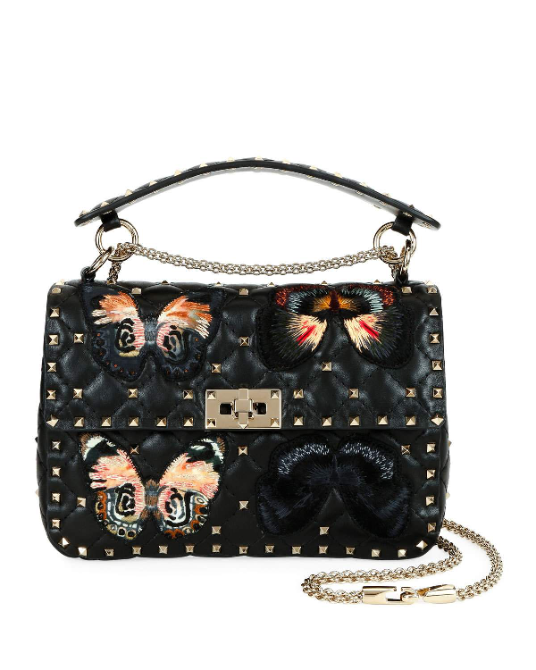 34183f2237 Valentino Spike. It Medium Butterfly Shoulder Bag In Black Pattern ...