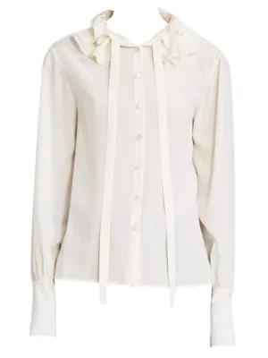 00c1a8f58dbe53 ChloÉ Ruffle Collar Tie-Neck Silk Blouse In Vanilla | ModeSens