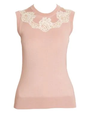 cd0ce5cf08f410 Dolce   Gabbana Cashmere   Silk-Blend Knit Lace Inset Top In Pink ...