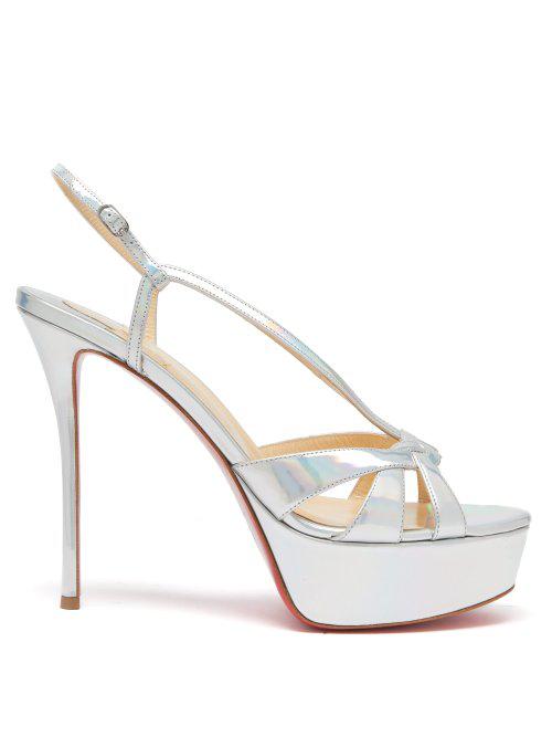ccaa6fd78b7 Christian Louboutin - Veracite Leather Stiletto Sandals - Womens - Silver