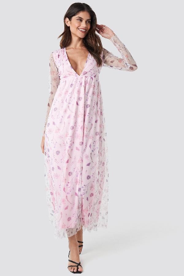 c615059a Na-Kd Floral Sheer Ls Maxi Dress - Pink | ModeSens