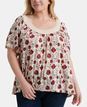 Lucky Brand Plus Size Crochet Printed Top In Medium Red Modesens