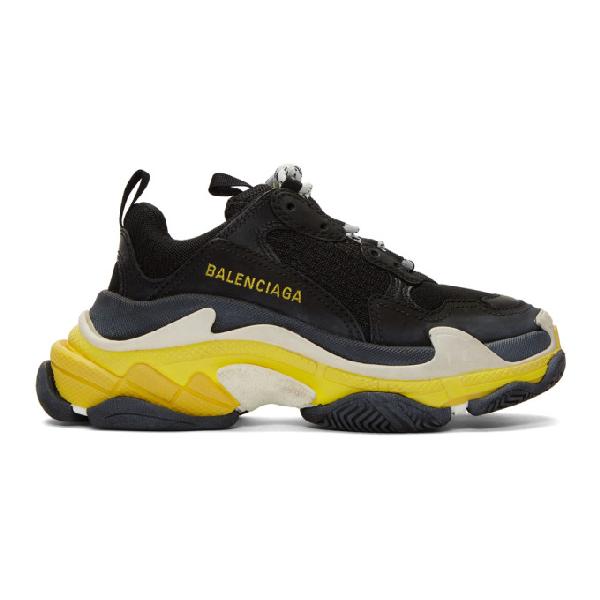 Balenciaga Low-Top Sneakers Triple S  Calfskin Lambskin  Polyester Logo Used Yellow In Black