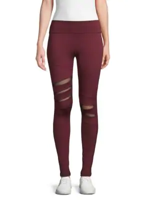 9a8fd849c9bcfa Electric Yoga Mesh-Inset Leggings In Burgundy | ModeSens