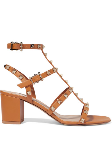 50c2d6e1f Valentino Rockstud Leather 60Mm City Sandals In Tan   ModeSens