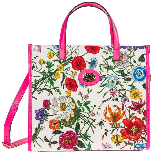 b11022d4e017 Gucci Medium Flora Tote Bag In White | ModeSens