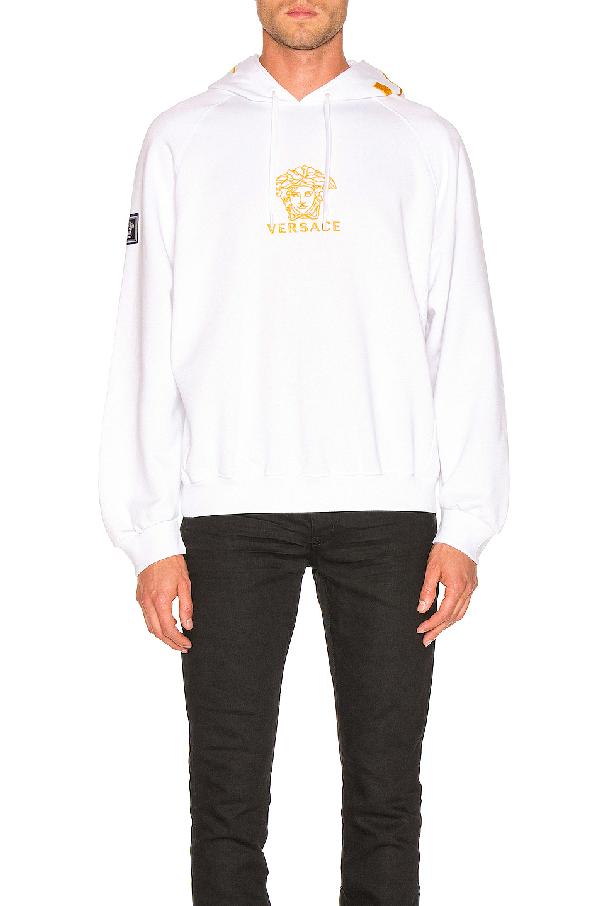 8d70ec4b3982 Versace Embroidered Medusa Logo Hoodie In White | ModeSens