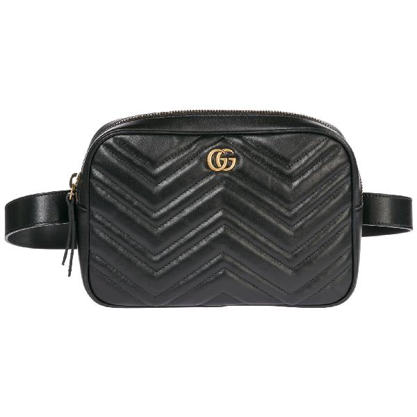9b48e4ac2e53 Gucci Men's Leather Belt Bum Bag Hip Pouch Gg Marmont In Black ...