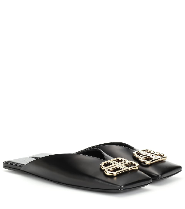 6f73922bd50 Balenciaga Bb Leather Slippers In Black