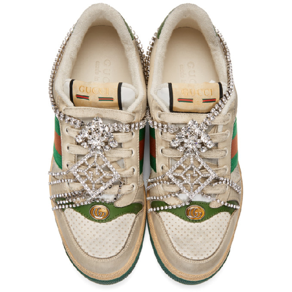 Gucci Screener Embellished Canvas-Trimmed Distressed Leather Sneakers In Neutrals