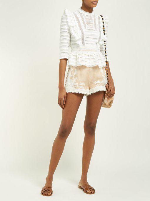 Zimmermann Allia Ruffled Lace-Trimmed Linen-Gauze Top In Ivory