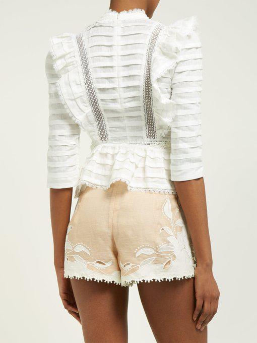 ZIMMERMANN Allia pintuck high-neck linen blouse
