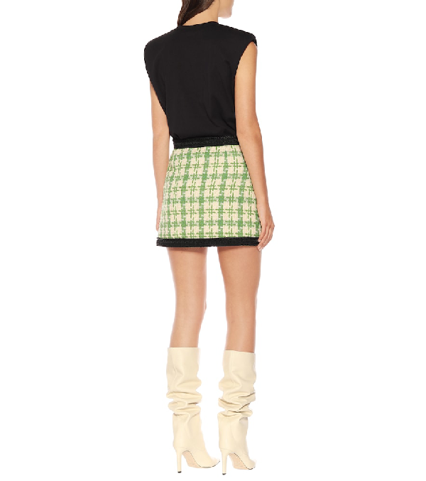 fbbb60bcc7 Gucci Bicolor Cotton Blend Tweed Mini Skirt In 3054 Green   ModeSens