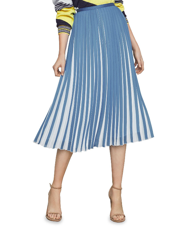9f99ad7c93 Bcbgmaxazria Two-Tone Pleated Midi Skirt In Blue | ModeSens