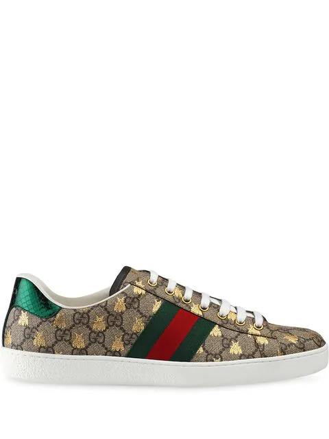 a98f840ae64 Gucci New Ace Golden Bee-Embroidered Canvas Trainers In 8465