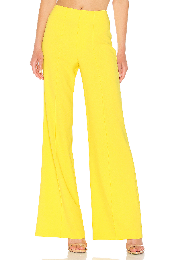 Alice And Olivia Alice + Olivia Dylan Wide Leg Pant In Yellow. In Sun