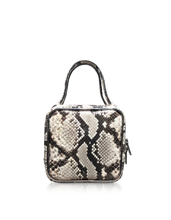 2551c21572e469 Alexander Wang Roccia Snake Print Halo Top Handle Satchel Bag In Gray