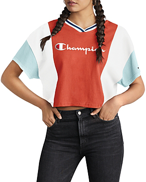 e0e8a198 Champion Color-Block Cropped Tee In Groovy Papaya   ModeSens