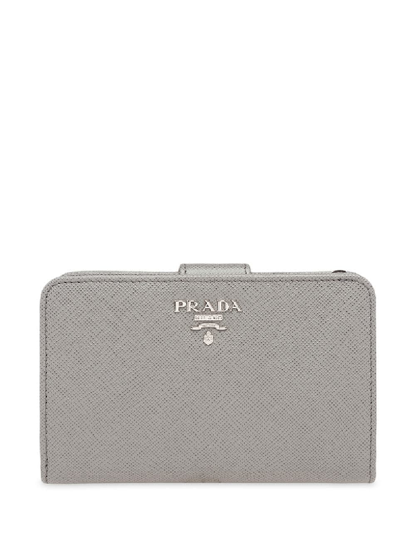 c11a1e19fa19 Prada Medium Saffiano Leather Wallet - Grey | ModeSens