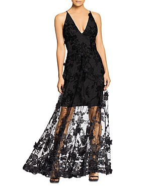 f894c26959b Dress The Population Sidney Deep V-Neck 3D Lace Gown In Black