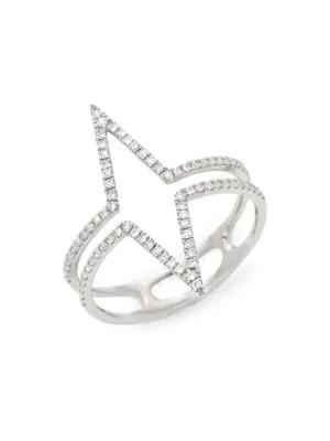beb28b8422946 14K White & Diamond Outline Ring in White Gold