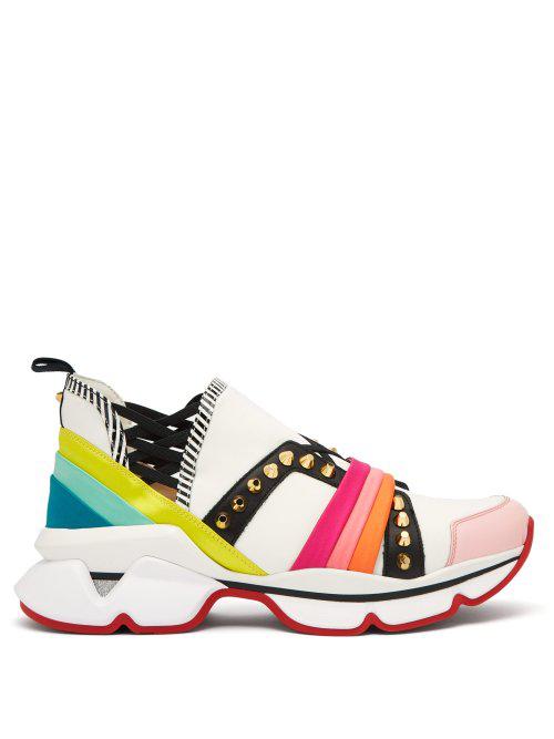 9530f821895 Christian Louboutin 123 Run Rainbow Red Sole Sneakers In White Multi ...
