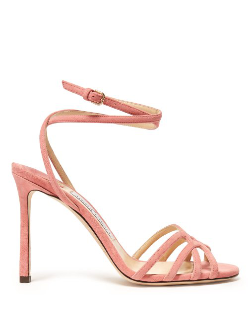 f5d72ed0e Jimmy Choo Mimi 100 Wrap-Around Suede Sandals In Pink