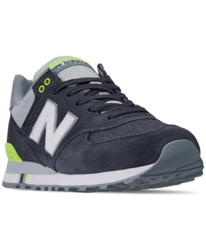 da3468664aa9 New Balance Men's 574 Casual Sneakers From Finish Line In Navy/Bleached Lime