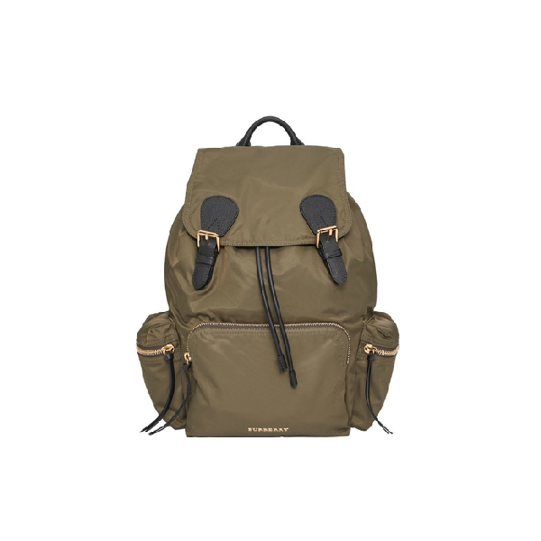 733a0ddada1d Burberry The Large Rucksack In Technical Nylon And Leather In Canvas Green