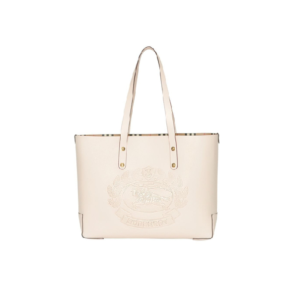 91258b762d09 Burberry Small Embossed Crest Leather Tote In Limestone