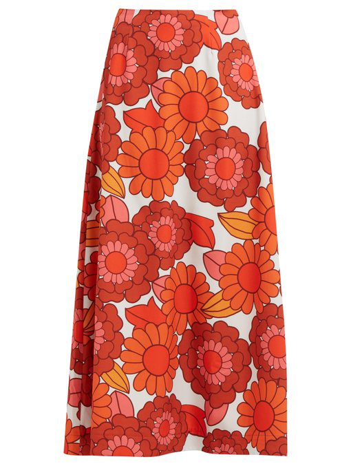 fb3de460eb Dodo Bar Or - Maximillianne Floral Print Crepe Midi Skirt - Womens - Orange  White