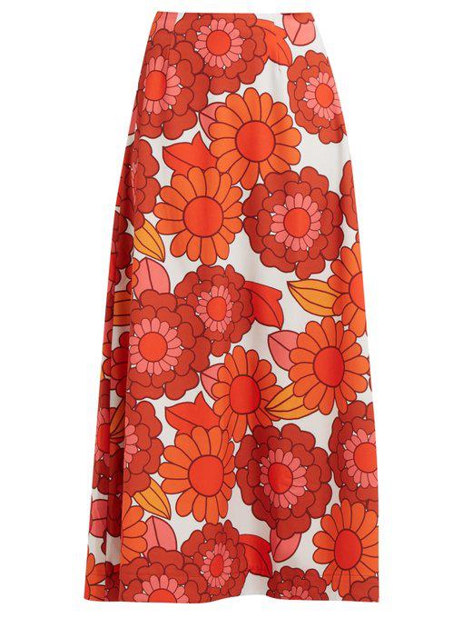 fb3de460eb Dodo Bar Or - Maximillianne Floral Print Crepe Midi Skirt - Womens - Orange  White