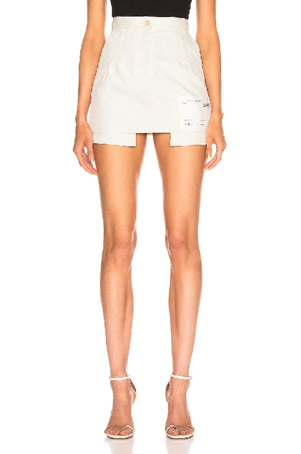 79d55437f Off-White Pockets Out Denim Cotton Mini Skirt In White   ModeSens