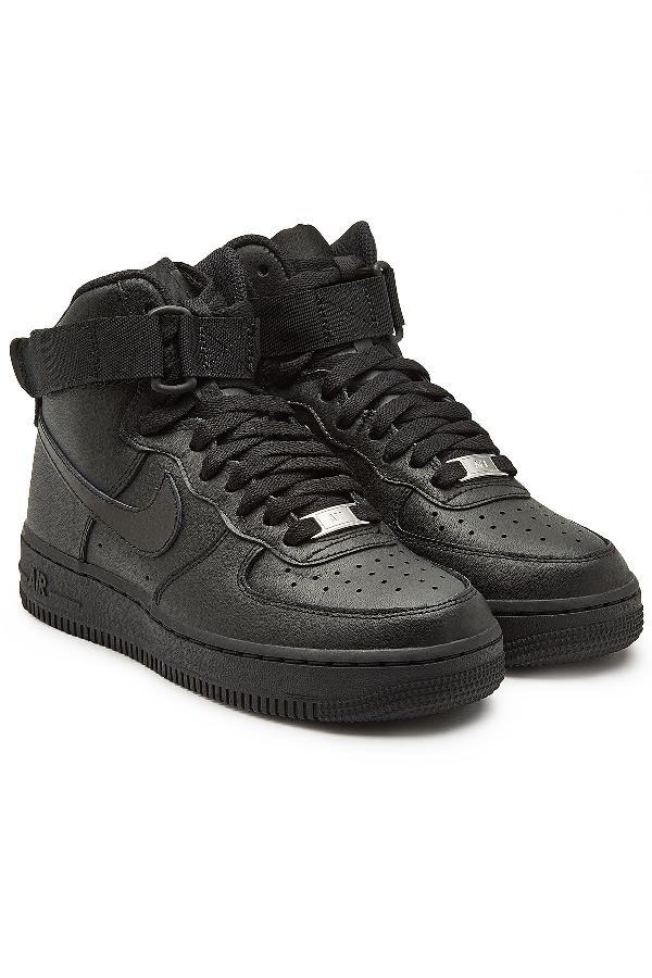 high top black nike air force ones