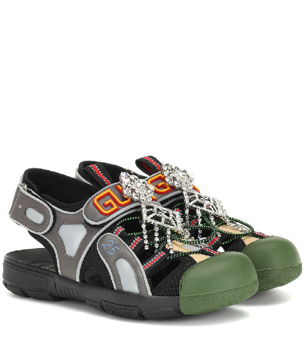 8b8e5ade6c4 Gucci Women s Leather And Mesh Sandal With Crystals In Black