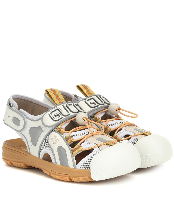9318eb39e38 Gucci Women s Leather And Mesh Sandal With Crystals In White
