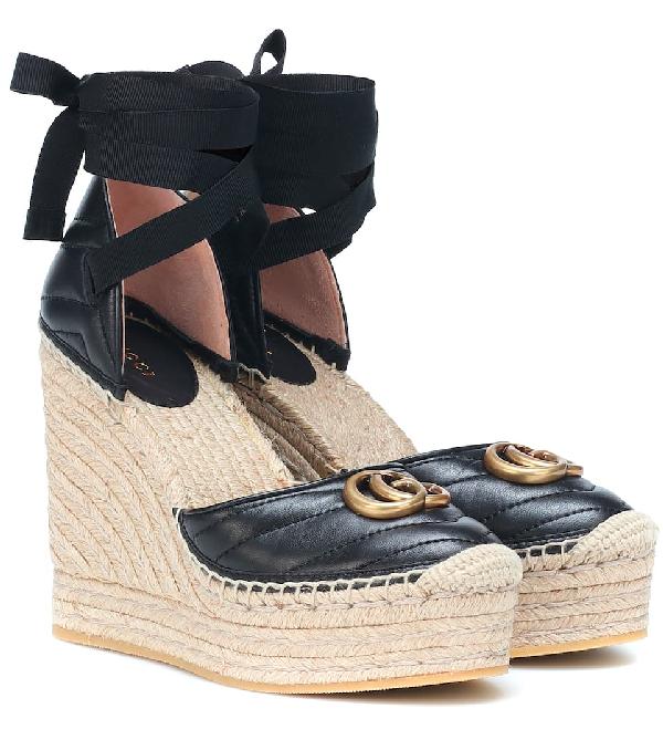 17924efec750 Gucci Palmira 155 Espadrille Wedge Sandals In Black