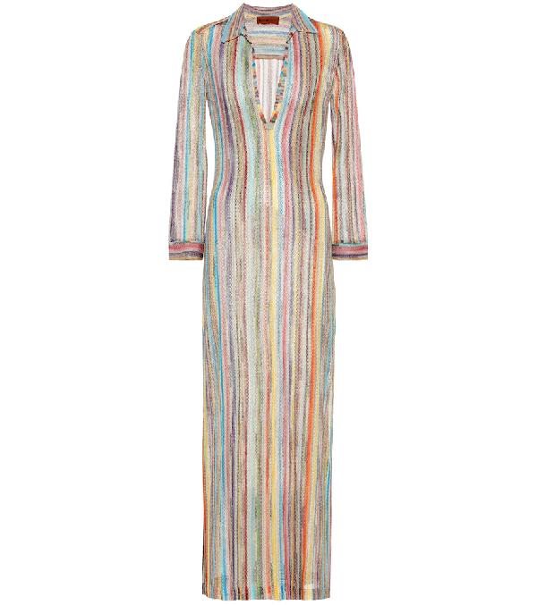 6407fba89f Missoni Striped Metallic Knit Maxi Dress In Blue | ModeSens