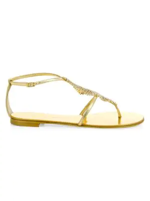 c29db77ff Giuseppe Zanotti Leather   Swarovski Crystal Flat Sandals In Gold ...