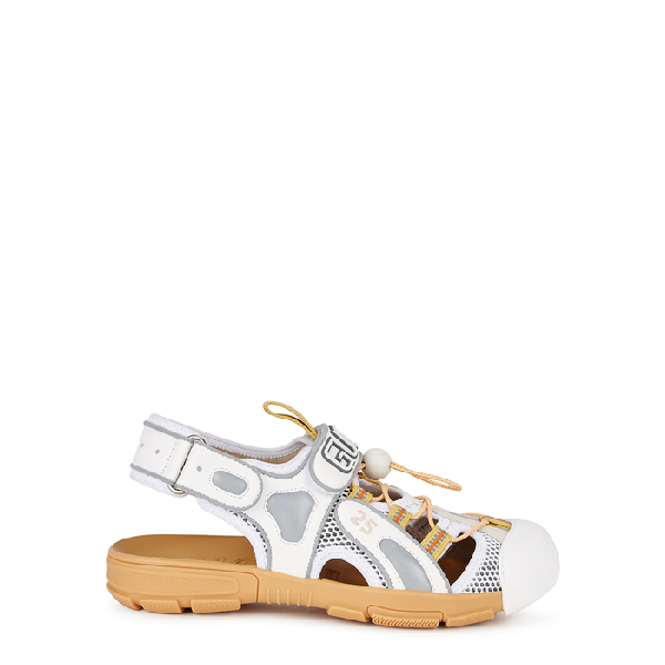 a396dbc6cc0 Gucci Women s Leather And Mesh Sandal With Crystals In White
