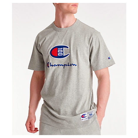 6fac3e32 Champion Men's Century Collection Chenille Logo T-Shirt, Grey | ModeSens