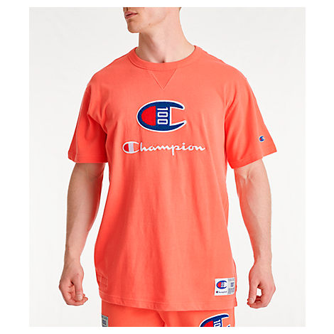 19a131d0 Champion Men's Century Collection Chenille Logo T-Shirt, Orange ...